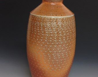 Tall Bottle with Chatter Decoration. Soda Fired Stoneware Pottery Vase
