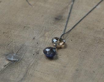 Smoky Quartz and Iolite Teardrop Pendant Necklace