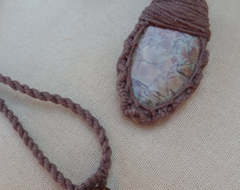 Jasper and Hemp Wrap Necklace - Natural Bohemian Hippie