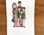Mini 5x7 Inch Custom Family Portrait (7 family members or less only)