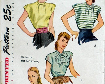 Vintage 1940s Wrap or Poncho Blouse Pattern Simplicity 1867 Bust 30 32 Rockabilly Easy to Sew
