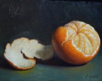 Original Oil Painting, Tangerine