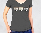 Ladies' V-Neck Tee  - Three Ferrets Shirt - Sizes S-M-L-XL-2XL - Cute Small Animal Heads Ferret Lover Womens Vneck Tshirt