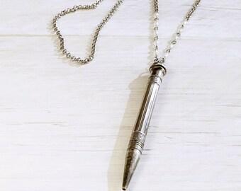 Antique Sterling Pencil Pendant Necklace