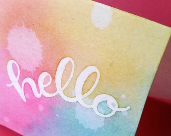 hello - Hand Carved Rubber Stamp