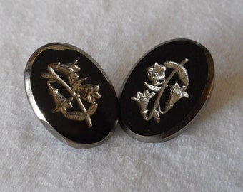 Set of 2 VINTAGE Silver Tint Flower Black Glass BUTTONS