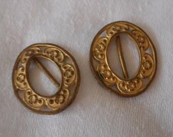 Set of 2 VINTAGE Tiny Baby Doll Lingerie Gold Metal Belt Buckles