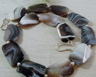 Chunky Botswana Agate Necklace Freshwater Pearls Sterling Silver
