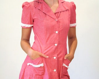 Lady Irene 40s Dress, Pink Cotton Day Dress S, Waitress Dress, Eyelet Lace Trim