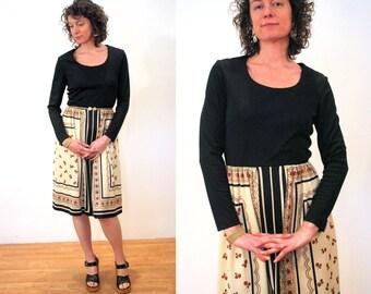 Sofia's Verandah, 70s Dress M, Mod Black Tan Floral Dress, Two Tone Hipster Dress, Black Floral Dress by R&K Originals