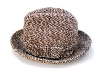 70s Harris Tweed Fedora, Herringbone Men's Hat, Vintage Cavanagh Fedora, English Country Hat, Womens Size 21, Mens Size 6 5/8 XS