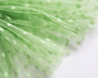 "DISCONTINUED - Grass Green spot tulle fabric - 44"" wide - sold per metre"