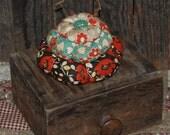 Three-Tiered Brown Orange Teal and Gray Floral Pinkeep Pin Keep Cushion