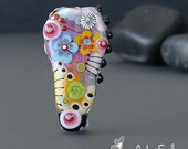 Handmade lampwork bead focal   | Spread Happiness  |  free-formed  |  SRA  |  artisan glass |  Silke Buechler