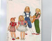 1980s Vintage Sewing Pattern Butterick 4310 Girls Romper Overalls with Ruffled Suspenders Size 4 Breast 22 1980s 80s