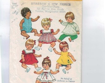 1970s Vintage Sewing Pattern Simplicity 5947 12 13 Inch Baby Toddler Doll Clothes Wardrobe Romper Pinafore Dress Pants 1973 70s