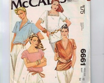1970s Vintage Sewing Pattern McCalls 6661 Misses Tunic Square Vee V Neck Size 12 Bust 34 1979 70s