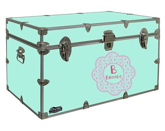 Personalized Arrow Camp Trunk Decal -  Summer Camp - Children Wall Monogram - Initials - Camping Decor - Camping Gear - Scalloped Monogram