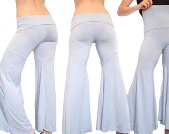 Baby Blue Dance Pants, High Waisted, Foldover, Wide Leg, Yoga, Soft Cotton, Festival Pants