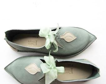 Fairy shoes, TITANIA Leaf, Handmade Leather Fairytale Wedding Shoes, pick a colour