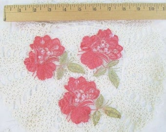 Hand Dyed Painted Vintage Lace Pearl Sequin Applique Rose Red - Qty 3 - Floral Venise Embroidered Lace