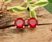 Helenite Glass Stud Earrings, Red Earrings in Gold, Silver, or Platinum, 8mm