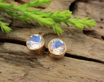 Blue Moonstone Earrings, Real Gems in Yellow Gold Bezel Setting, 4mm