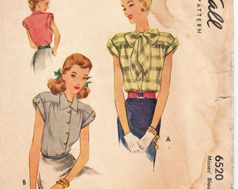 """1940's Vintage Sewing Pattern Ladies' Blouses McCall 6520 34"""" Bust - Free Pattern Grading E-book Included"""