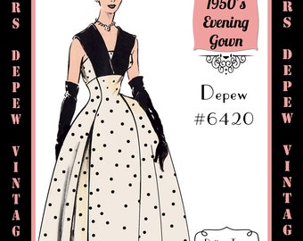 Vintage Sewing Pattern 1950's Ladies' Sleeveless Evening Gown in Any Size - PLUS Size Included - Depew 6420-INSTANT DOWNLOAD-
