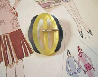 Vintage Small Bakelite German Painted Belt Buckle