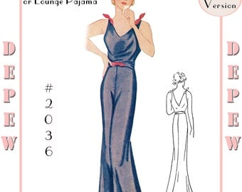 Vintage Sewing Pattern Reproduction 1930's Evening or Lounge Pajama #2036 - Full Size PAPER VERSION