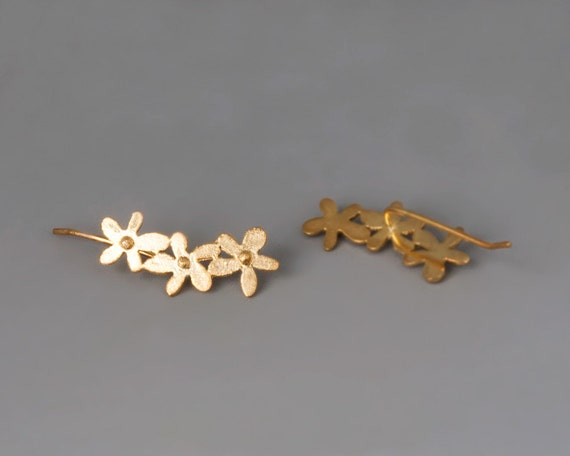 Ear Climber Earrings, Gold Earrings, Ear Crawler, Gold Flower Earrings, Gold Ear Cuffs, Gold Climber Earring, Flower Ear Crawler Bridal