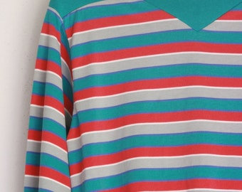 Vintage ladies striped  knit shirt size medium eighties