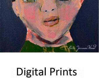 Boy Portrait Painting Digital Print. Schoolboy Print. Whimsical Portrait Art Print. Child's Room Art Print