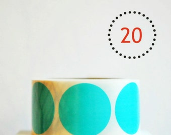 Gloss Aqua Blue {20} Dot Stickers {2.0in} Envelope Seals | Blue Stickers | Boy Baby Shower | Sweet 16 | Fun Gift Wrapping