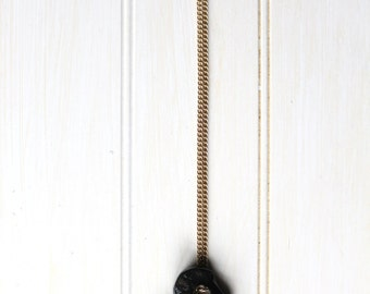 Hanging Agate Necklace | Black | Heavy | Organic | Stone