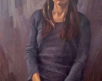 "Art Painting ""Self Portrait Pointing Down"" Original oil by Sarah Sedwick 24x36"