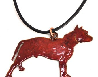 Adjustable Pitbull Hand cut and powder coated on leather cord