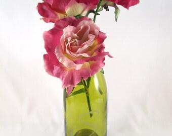 Monogrammed Recycled Glass Wine Bottle Vase Sandblasted Personalized Yellow Chardonay
