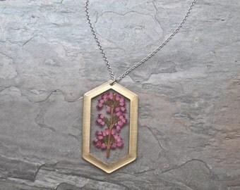 Pink Heather Pressed Flower Necklace, Botanical Jewelry, Pressed Heather