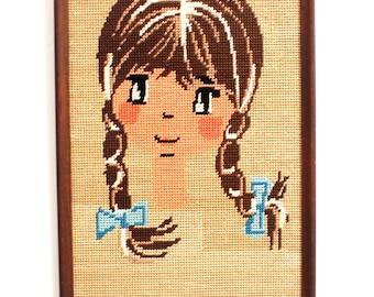 Little Girl Framed Needlepoint Finished and in Wood Frame Big Eyed