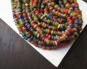 Rustic lampwork glass beads rondelle small spacer discs  mix matte and glossy  indonesian glass beads  - 20 inches strand - 5A3