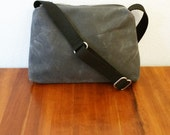 The Traveler Gray Waxed Canvas Cross Body Zipper Bag