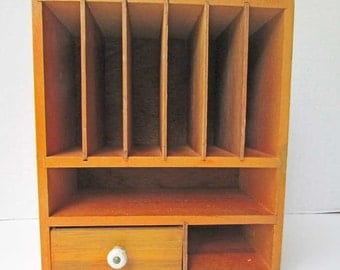 Vintage Wooden Multi Compartment Desk Top or Wall Hanger Organizer for Paper, Envelopes, Small Supplies, Apartment Size Organizer