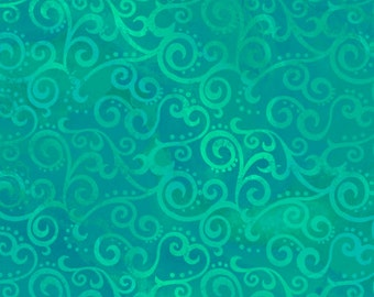 Ombre Scroll Jade Quilting Treasures Fabric 1 yard