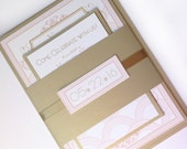 Art Deco wedding invitation set, elegant wedding invitations, Blush pink, gold, Great Gatsby, Unique wedding invite - Deposit to Start
