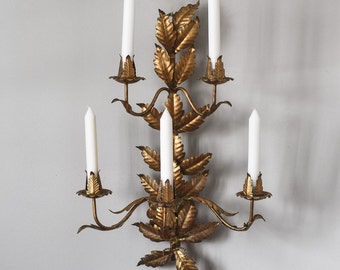 Vintage Tole Work Candelabra, Italian Gilt Wall Sconce, Home & Living, Wall Decor, Lighting, Candles and Holders
