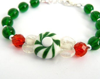 Christmas Candy Bracelet, Red and Green Bead Bracelet, Holiday Jewelry, Colorful Beaded Bracelet, Green Peppermint Candy
