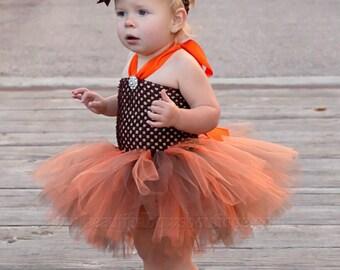 Baby Girl Fall Harvest Tutu Dress Set,Fall Baby Tutu,Gold Orange Brown Toddler Tutu for Babies,Girls Autumn Photo Prop Fall Flower Girl Tutu