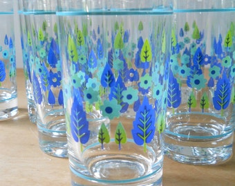 Vintage Stetson Marcrest Swiss Alpine Glass • Mid Century Tumbler • Vintage Kitchen Glass Blue Chartreuse Aqua
